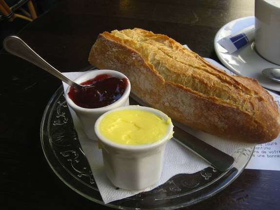 Baguette Butter Jam Cafe Paris