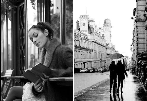 Paris Rain Cafe Book Umbrella