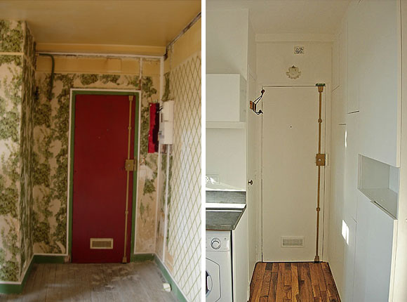 Paris Apartment Renovation Montmartre Studio Pilleux Entrance Way Before And After