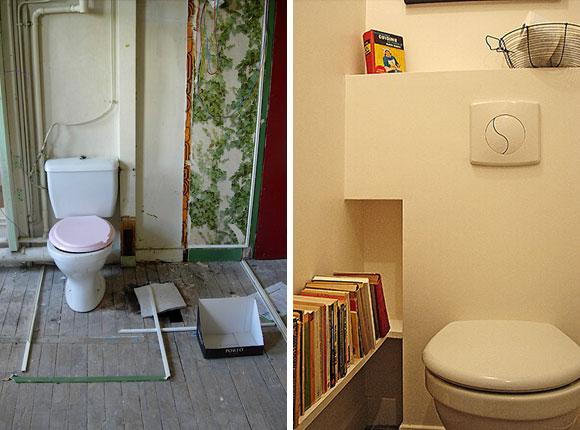 Paris Apartment Renovation: Toilet before and after