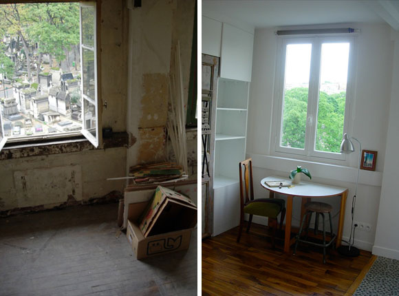 Pilleux Window And Desk Overlooking Montmartre Cemetery Before After