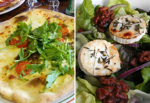When lactose intolerant in Paris, stay away from pizza (left), but goat's cheese salad is ok to eat (right).
