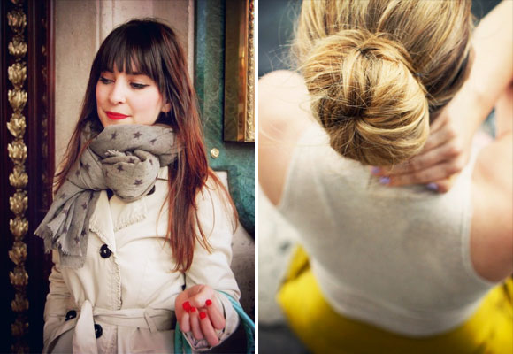 French beauty: French Women like to wear little makeup and a bold red lip, like this brunette with a fringe and dressed in a cream mac (left). A woman from behind, with her blonde hair tied up in a bun (right).