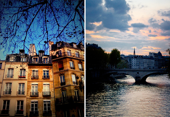 An apartment building in Paris (left) and one of the stone bridges that cross the River Seine (right).