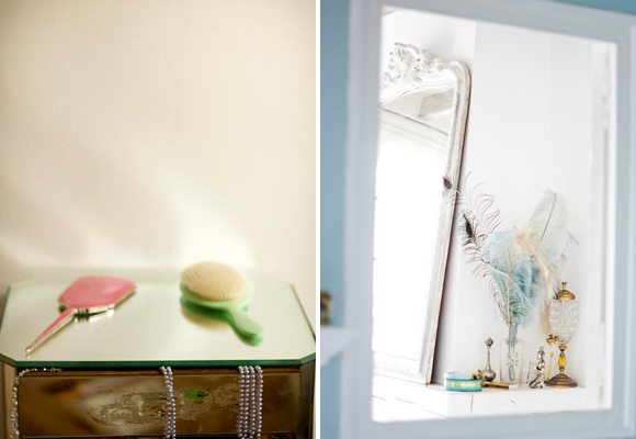 French Beauty Tips: 12 French Pharmacy Items you'll want for your dressing table, unlike this one with only a hand-held mirror and hairbrush (left). A bathroom with fancy brass objects and a vase with light blue feathers (right).