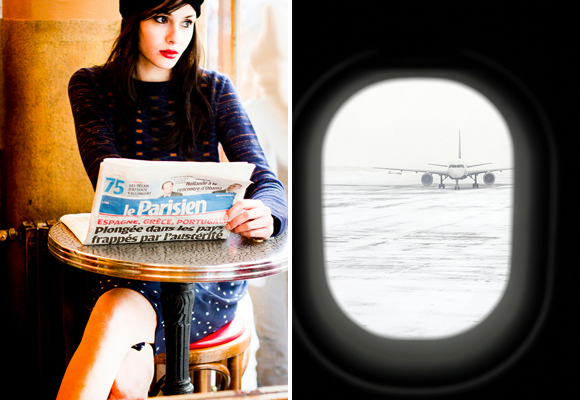 Becoming French, how to live and work in France, means you stay up to date with local news, like this chic Parisian woman reading a copy of Le Parisien at a bistro table (left). An airplane on the runway seen through the window of another plane (right).