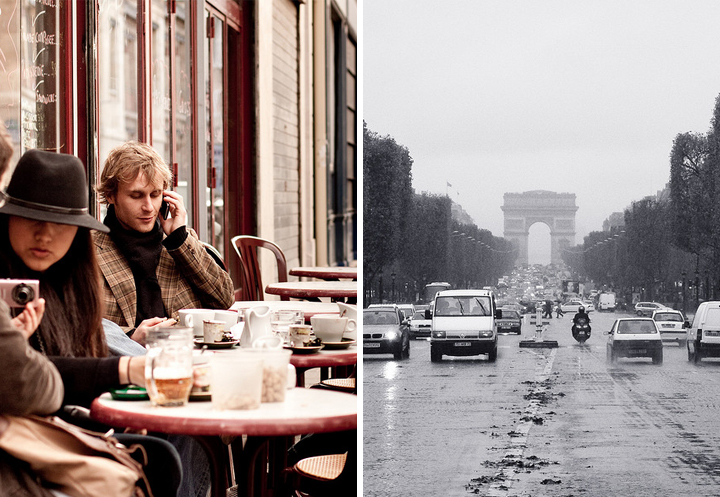 How to spend Sundays in Paris? At a cafe terrace like this man on his phone who's having a coffee (left), or seeing the sights like Arc de Triomphe even in the rain (right).