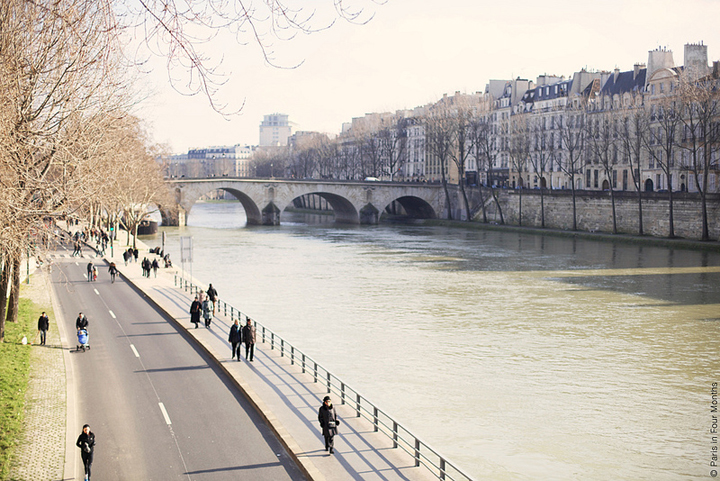 On Sundays in Paris, locals like to walk or jog along the River Seine and its canals.