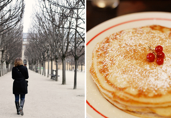 On Sundays in Paris, Parisians like to take a leisurely walk in the parks even in winter (left) and then go and warm up with a brunch of pancakes (right).