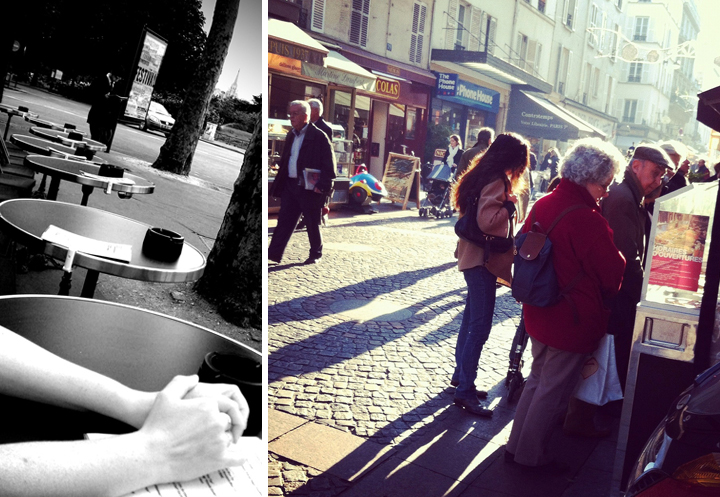 How to spend Sundays in Paris? At a cafe terrace tanning (left), or shopping in the city's various neighborhoods like these people looking for souvenirs (right).