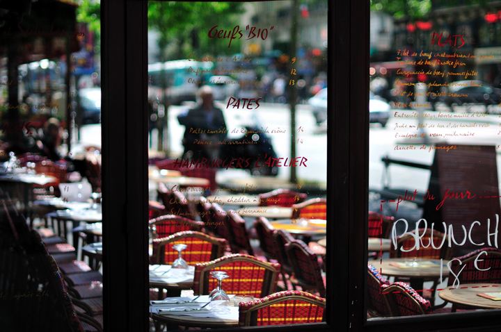 Sundays in Paris are spent having brunch at a cafe or on a terrace if the weather's good, like at this bistro before it gets busy.