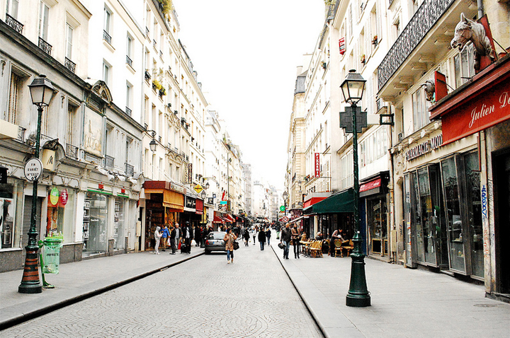 A lot of shops and restaurants are closed on Sundays in Paris and the city is a lot quieter, like this pedestrian street.