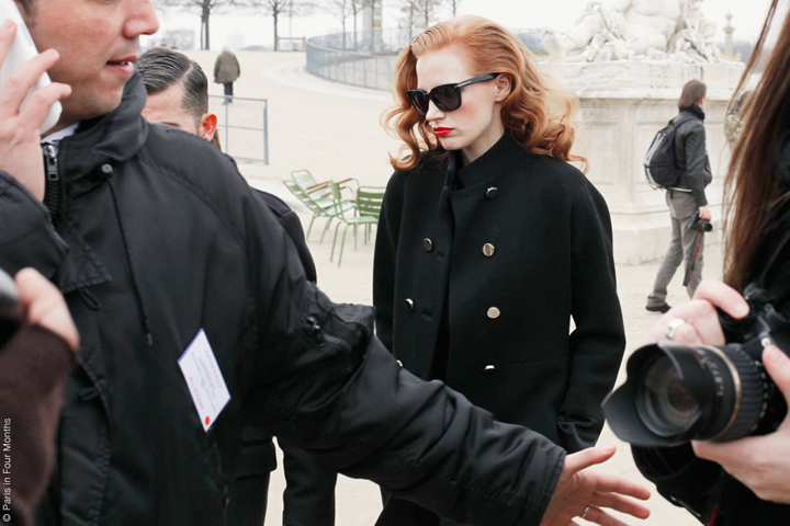 HiP Paris Blog, Carin Olsson, Jessica Chastain at Paris Fashion Week FW13