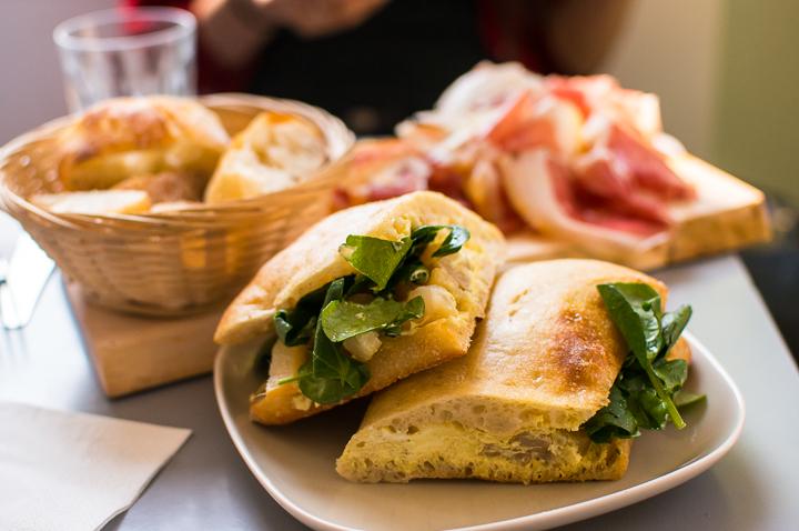 A grilled halloumi sandwich at Paris fashion concept store coffee shop The Broken Arm in the Marais.