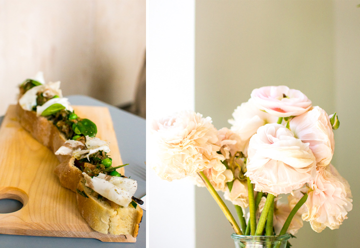 An open baguette sandwich with vegetable and cheese toppings (left). French light pink peonies in a vase (right) at Paris concept store The Broken Arm.