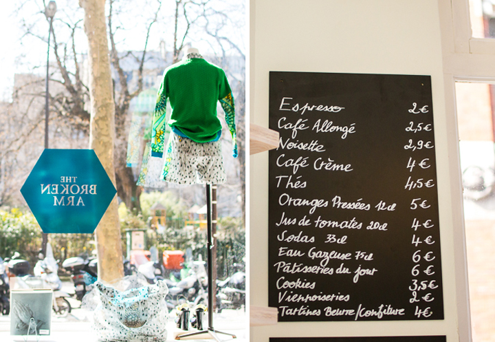 The Broken Arm concept store in Paris, with its window display of fashion items (left) and handwritten coffee shop menu on a blackboard (right).