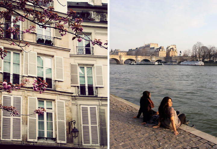 A Paris apartment building with windows that have white shutters and there's a cherry blossom tree nearby (left). Two newly single girls in Paris, sitting on the banks of the River Seine (right).