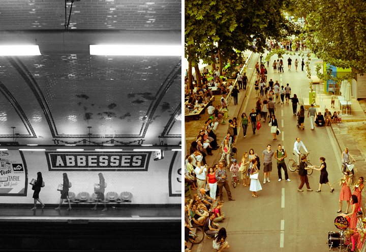 Being Single Girl in Paris isn't hard when there are so many things to see and do, like this girl at Abbesses station (left), and these people dancing on the banks of the River Seine (right).