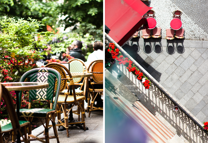 A Paris café terrace in summer with colorful rattan bistro chairs lined by leafy plants (left). Aerial view of a Paris cafe sidewalk terrace in the sun, with red tables and chairs (right).