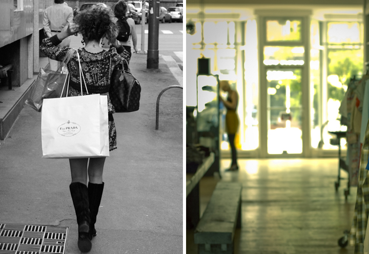 We love this woman's Parisian street style, her knee-high boots and mini-dress (left). Shopping on a budget in Paris is possible when you go to thrift stores (right).