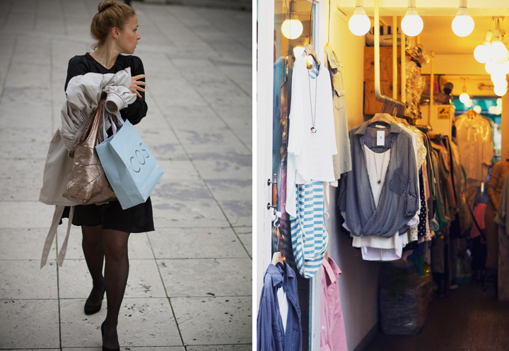 We love this woman's Parisian style and her simple black dress and pumps (left). A high-street clothes store selling cotton dresses and tops (right).