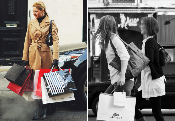 Shopping on a budget in Paris like these women holding bags of shopping.