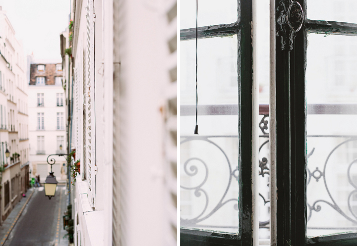 Decorating your apartment like a Parisian starts with finding the right place to live, be it on a small street in the Marais (left) or somewhere with more light like through this open window (right).