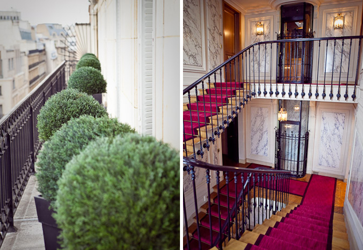 Paris apartments sometimes come with balconies big enough to have green potted hedges (left). An opulent Paris apartment staircase (right).