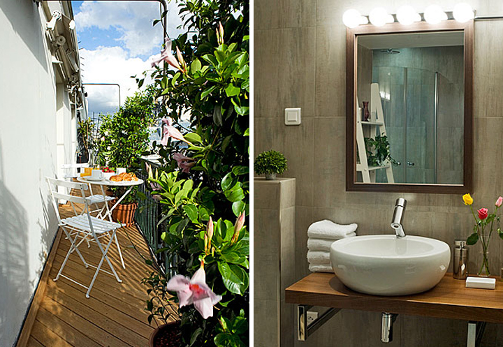 A Paris apartment balcony with plants and flowers and a table and chair (left). Decorating your bathroom Paris style can be simple and effective with a few fresh flowers and stack of white towels (right).