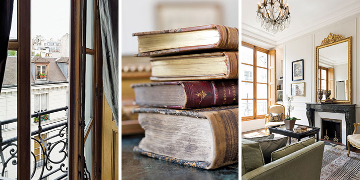 The view of neighboring Paris apartments through a window (left). Old books found at a flea-market are perfect for decorating your apartment Paris style (center). A typical Paris apartment comes with a marble fireplace, high ceilings and moldings (right).