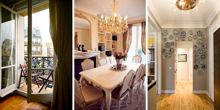 Doors that lead to a balcony in a Montmartre Paris apartment (left). A fancy dining room in a Paris apartment with a chandelier and marble fireplace (center). Decorate your apartment like a Parisian by hanging collected ceramic plates around a doorway (right).