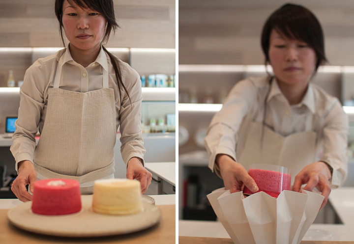 A Japanese baker at Ciel, packing Japanese Pastries in Paris.