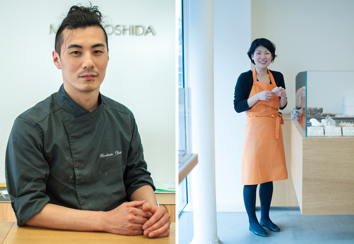 Japanese baker in Paris, MORI YOSHIDA in his moss-green overalls (left). A staff-member at his Japanese Paris bakery smiling and wearing an orange apron (right).