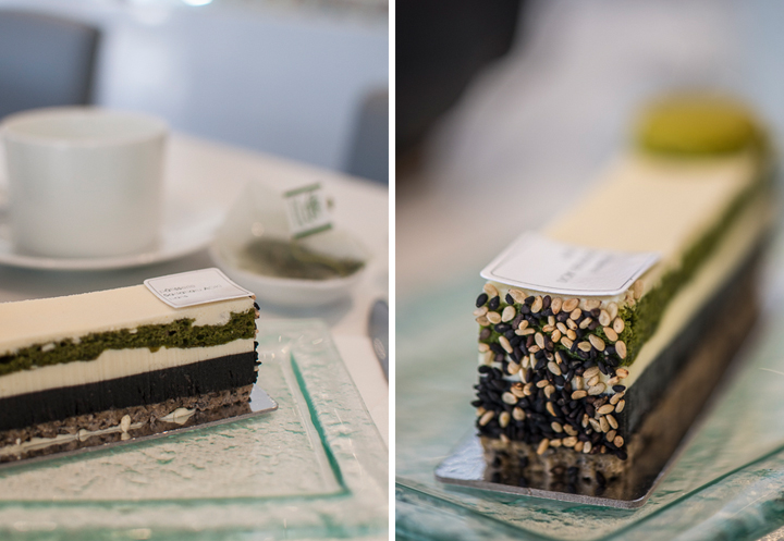 Japanese cake on a plate, with layers of green tea and chocolate in Paris.