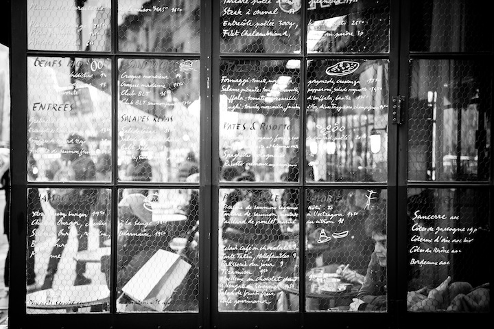 Paris in Black & White, Cafe Window, Michael Kandel