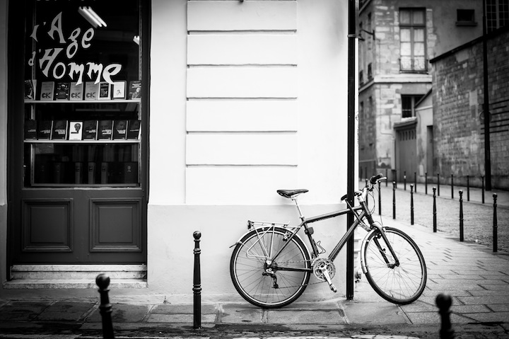 Paris In Black White Bicycle Michael Kandel
