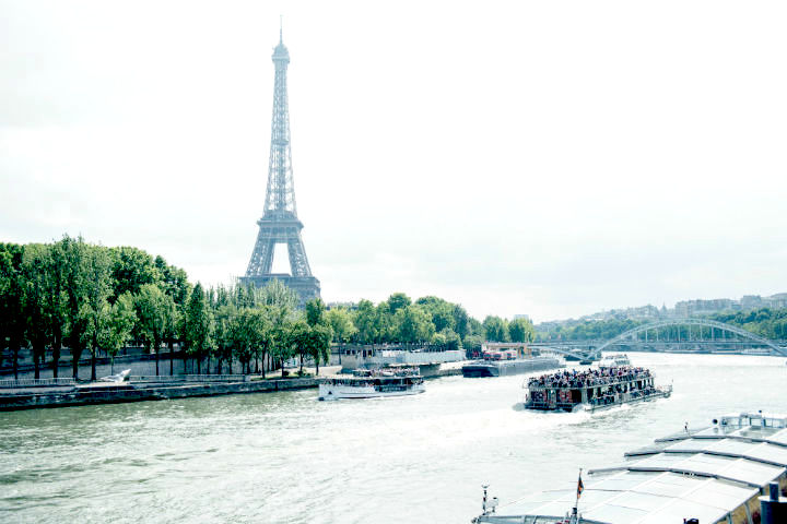A view of the River Seine and the Eiffel Tower in Paris' 16th neighborhood.