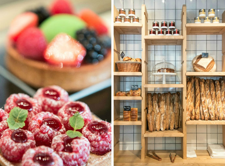 Exploring the Hidden Gems of Paris' Chic 16th Arrondissement, including some of the best patisseries like Cyril Lignac's pastry shop which does delicious fruit tarts (left) and artisanal baguettes (right).