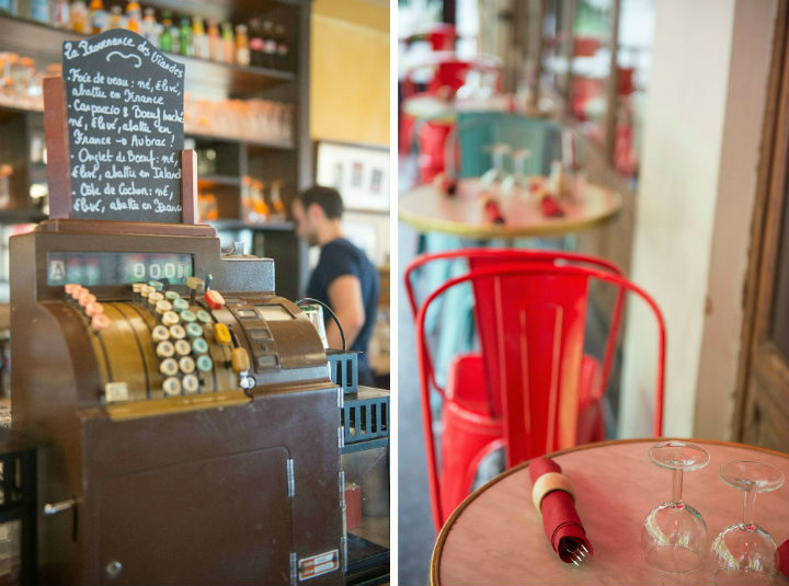 Exploring the Hidden Gems of Paris' Chic 16th Arrondissement like this cozy brasserie with an old cash register (left) and outdoor seating with red metal chairs (right).