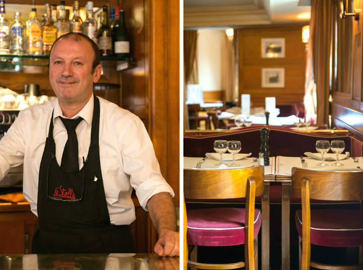 Exploring the Hidden Gems of Paris' Chic 16th Arrondissement like high-end brasseries tended to by typical French waiters in shirts and ties (left). The wood paneled dining room with wooden chairs that have deep pink velvet seats (right).