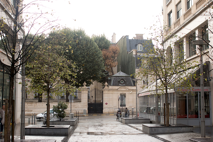 Elegant Eighth, Paris street view of mansion houses surrounded by trees.