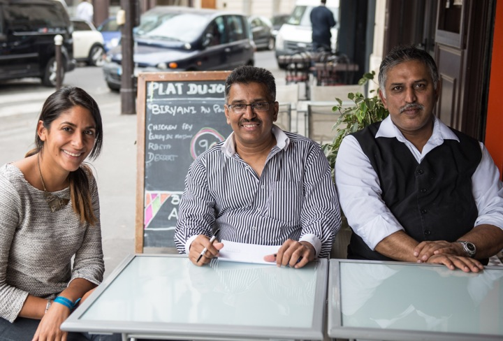 Indian Restaurants in Paris with Bollywood Kitchen's Sanjee and the chefs at Nalas restaurant in La Chapelle.