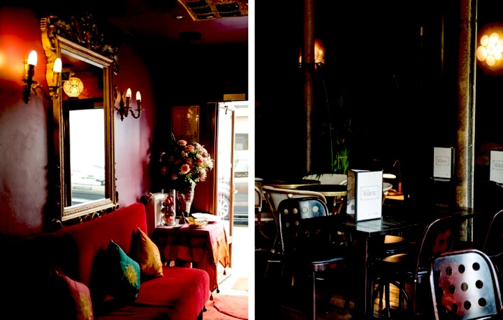 One of the best Indian restaurants in Paris is the Jaipur Café in the 10th arrondissement with its red walls (left) and moodily-lit Marcel on the Canal Saint Martin (right).