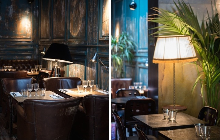 Top Indian restaurant on the Canal Saint Martin in Paris is Marcel, with its distressed decor and leather armchairs (left). At Marcel restaurant in Paris, there are fringed lamps giving it a 20s feel (right).
