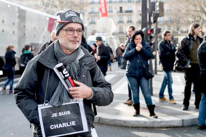 Je suis Charlie. Paris. Place de la Republique 11 January, 2015. Nous sommes tous Charlie.