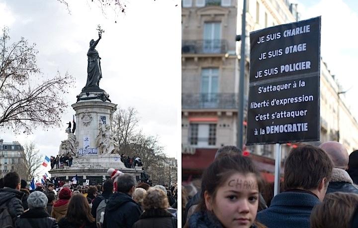 Nous sommes tous Charlie manifestation at Place de la Republique Paris