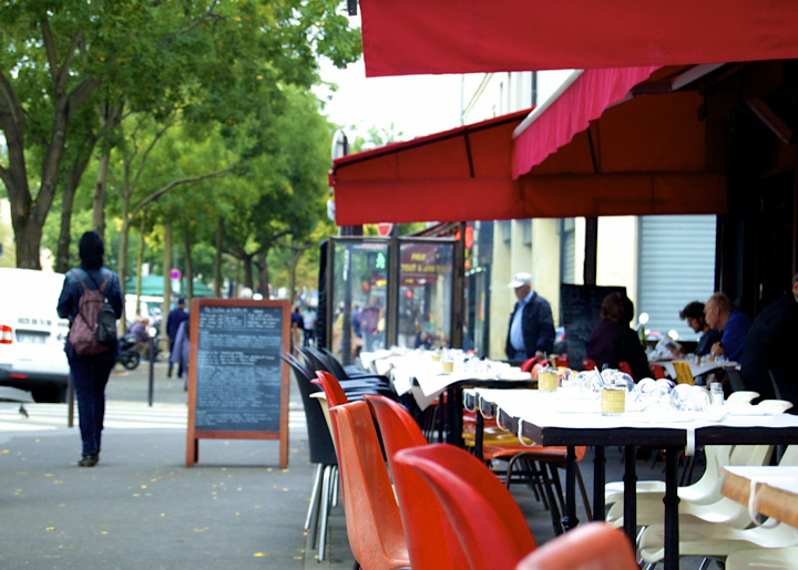 Paris 20th Arrondissement: Best bars, restaurants, and cafés around Belleville and Menilmontant, which have lots of outdoor seating like this sidewalk cafe terrace.