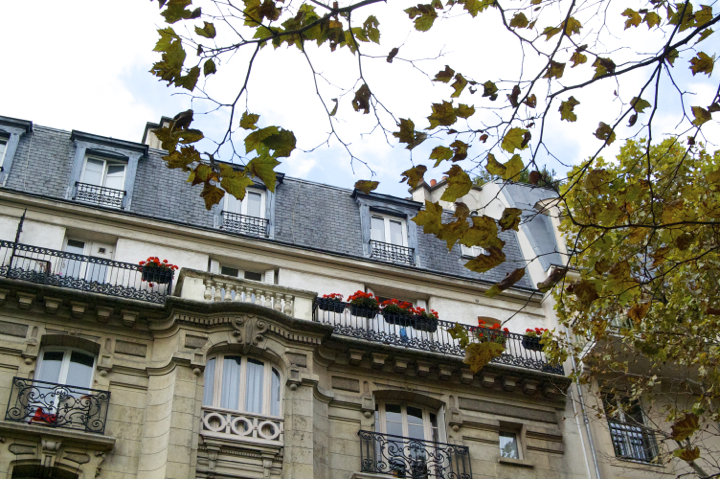 Paris 20th Arrondissement: Best bars, restaurants, and cafés around Belleville and Menilmontant, which have beautiful apartment buildings like this one, with shutters and flowers around the windows.