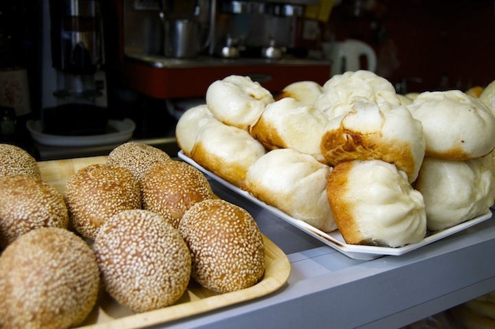 Trays of delicious dumplings at Wen Zhou canteen in Belleville, Paris' Chinatown.