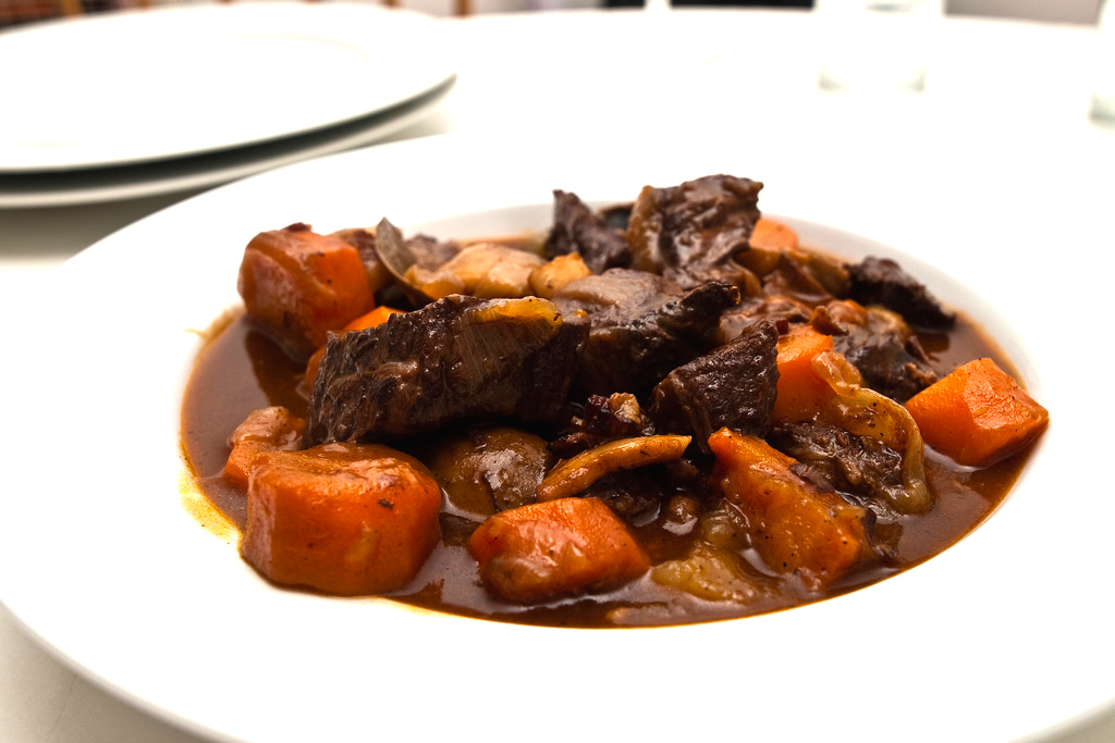 Where to go for the best beef Bourgignon, like this one, which is meaty, saucy and full of vegetables, in France.